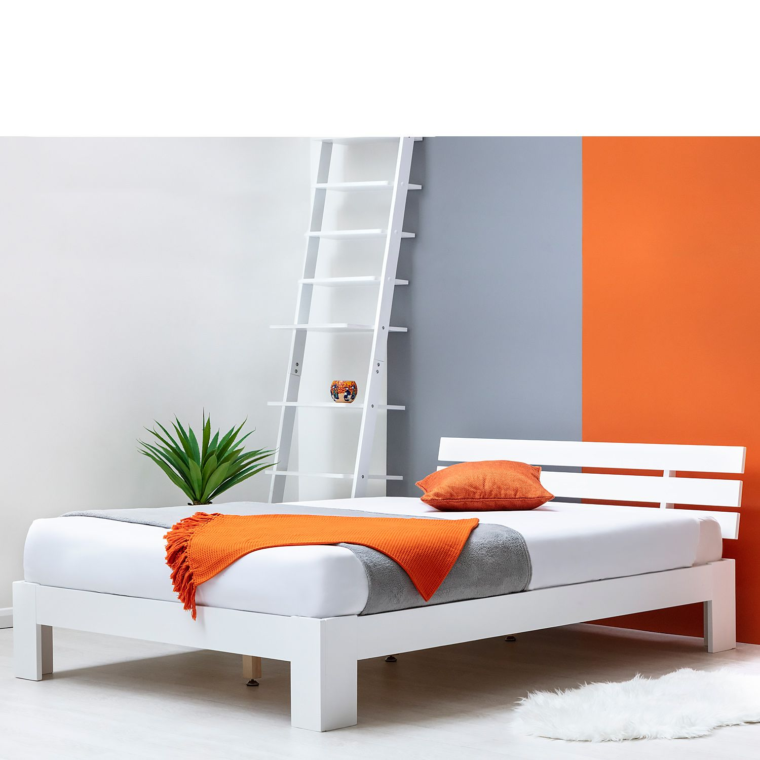 Broxton Low Platform White Wooden Bed Frame Single Double Sizes