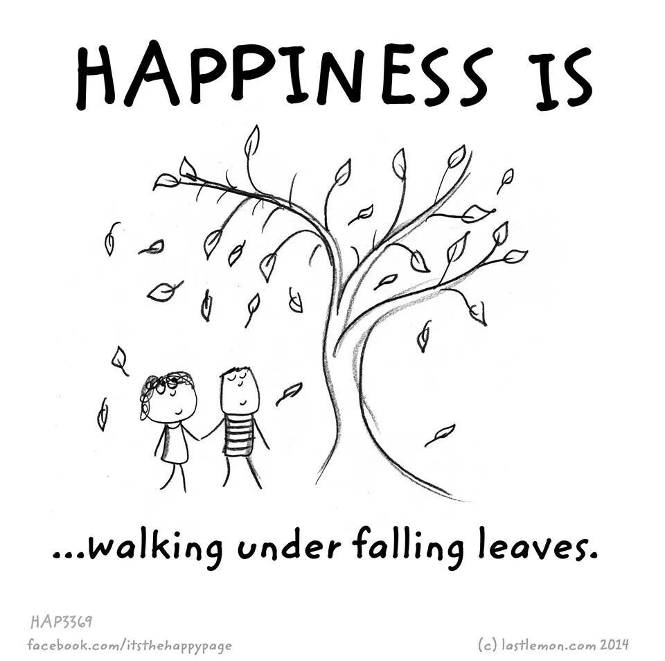 Happiness is walking under falling leaves.