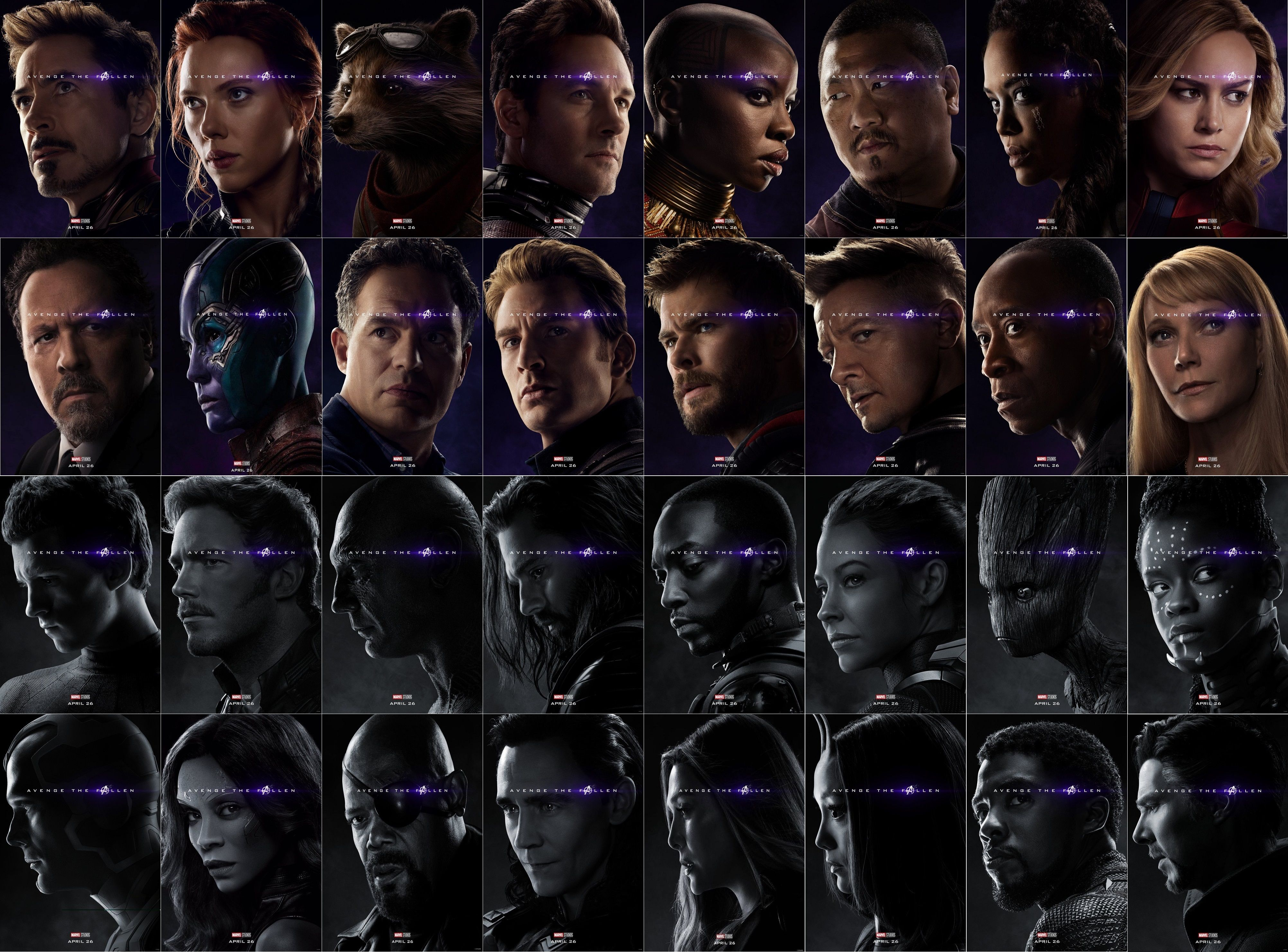 Avengers end game characters poster marvel comics art