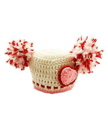 Look at this #zulilyfind! Pink & White Crochet Pom-Pom Hat #zulilyfinds