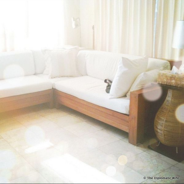 Teak Wood L Shaped Couch With White Cushion Covers Slip Covers Couch White Cushion Covers Living Room Remodel