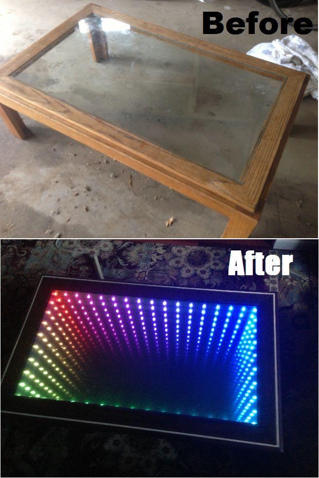 Infinity Mirror LED, Tisch und Möbel - wasserwand selber bauen garten