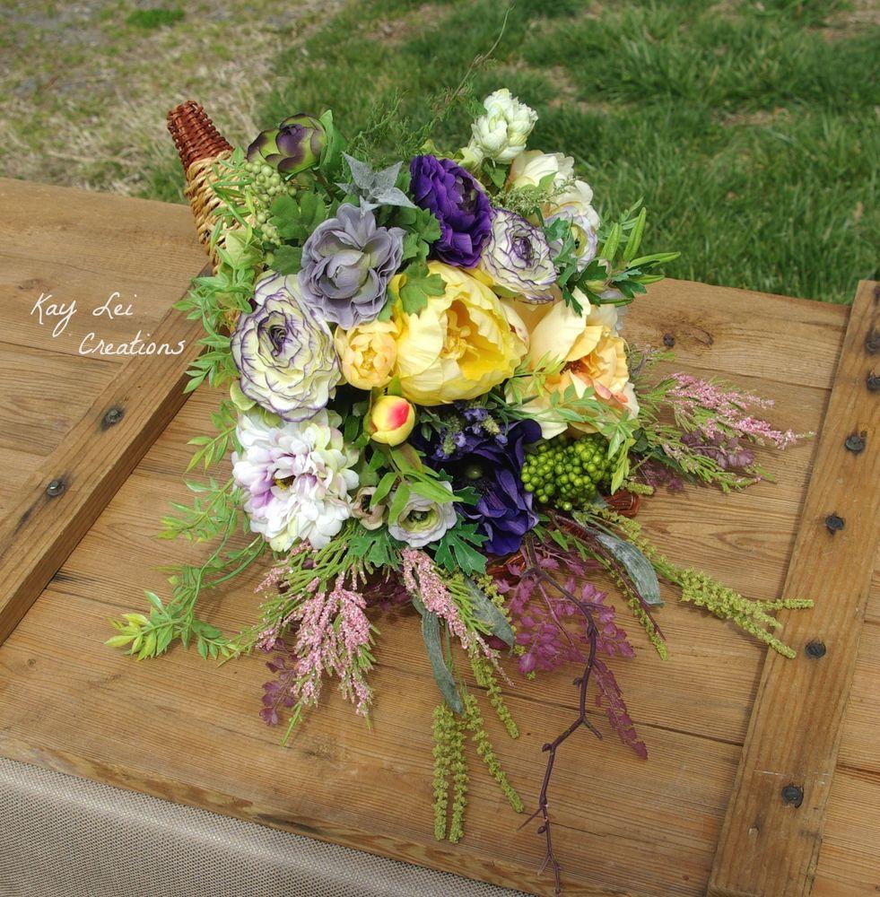 Rose Silk Flower Summer Fall Grapevine Cornucopia Basket Arrangement