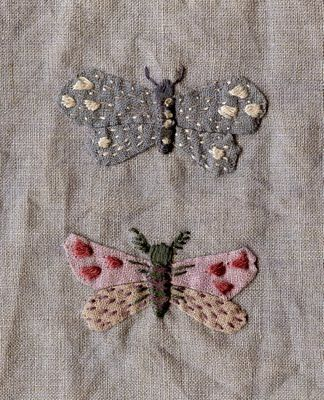 hand-dyed linen embroidered, would be cute patches for moth holes   things  to make   Pinterest   Moth, Embroidery and Butterfly