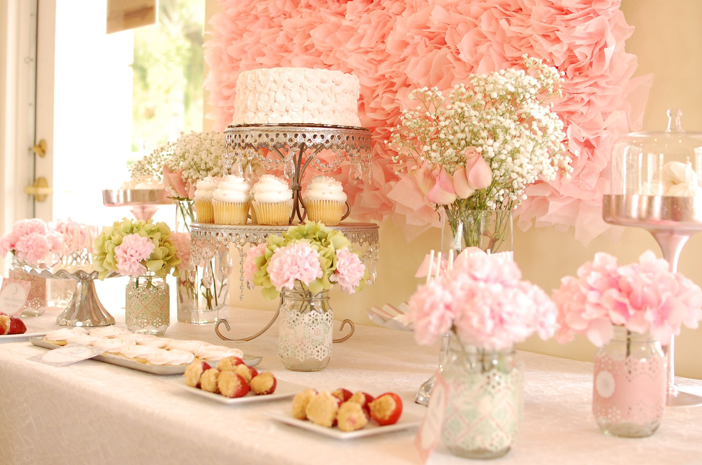 bridal shower dessert table love the lace on the vases too