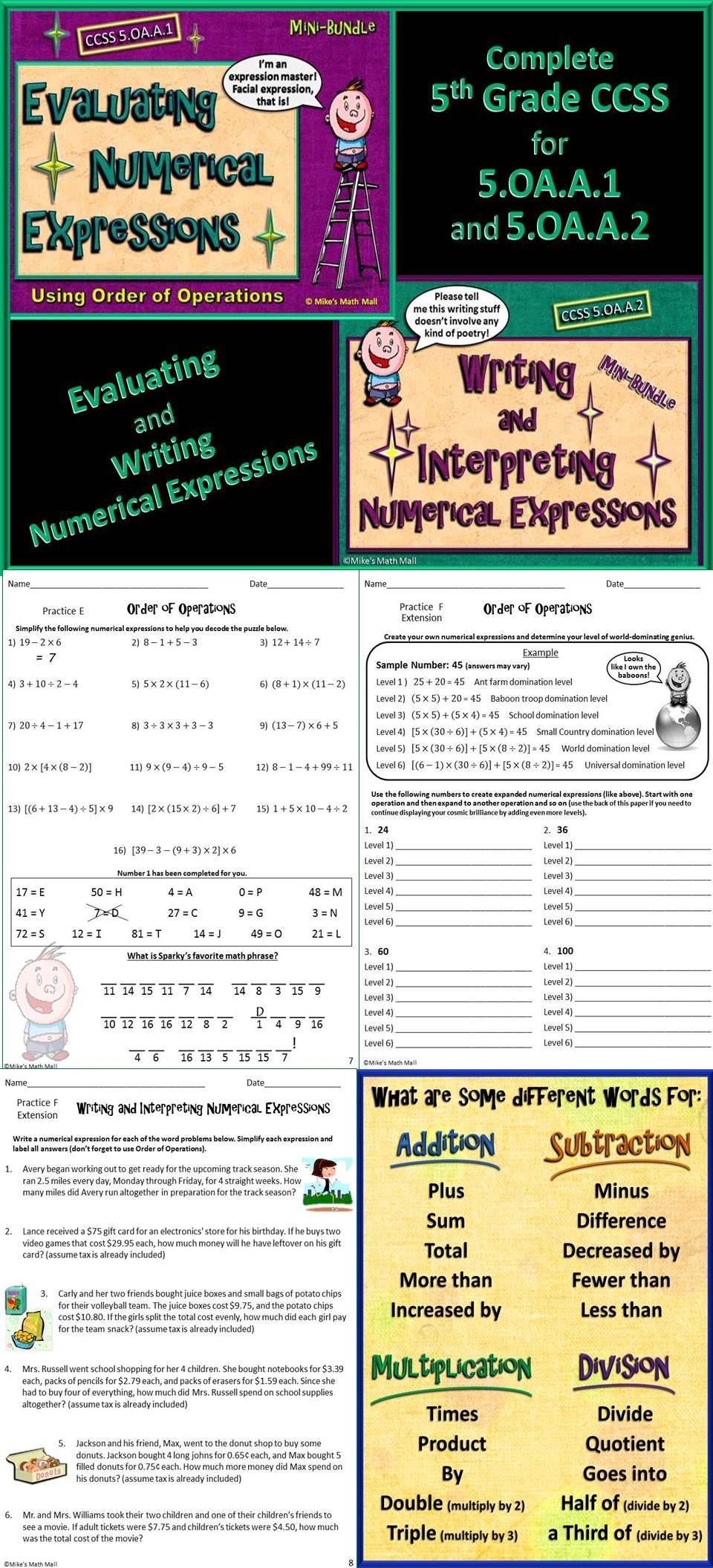 Write and Interpret Numerical Expressions - Complete 5th Grade CCSS