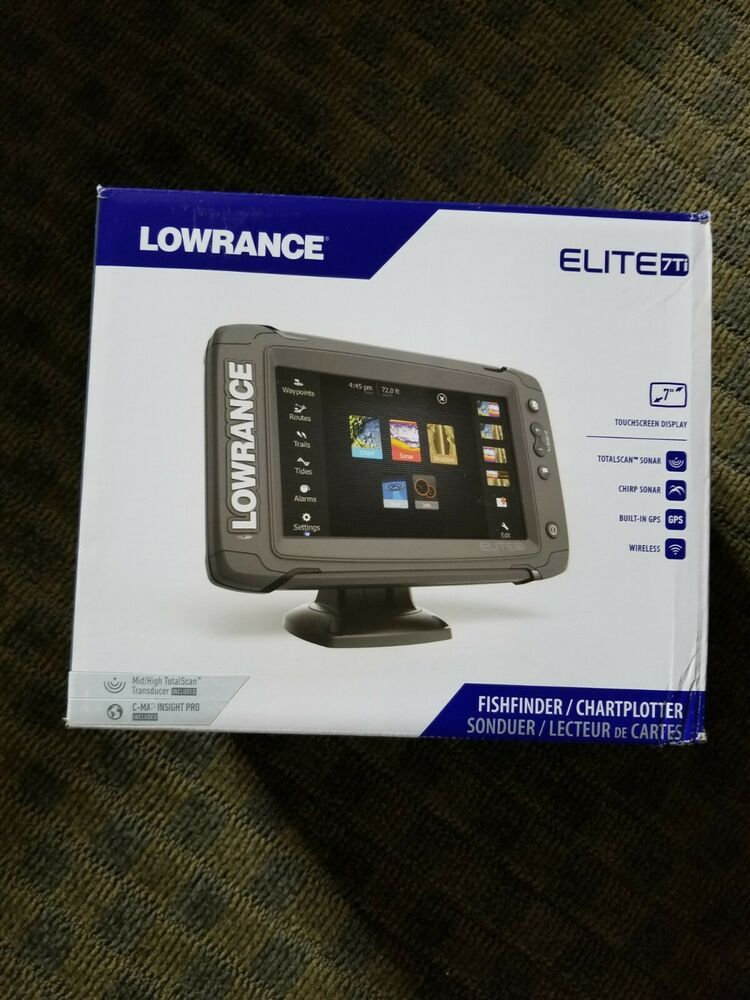 Ad Ebay Lowrance Elite 7 Ti Touchscreen Gps Fishfinder W Totalscan Transducer Side Image Transducer Touch Screen Gps