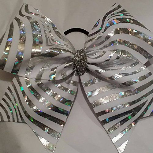 CB- WHITE with SILVER HOLGRAM SHATTERED GLASS LOOK ZEBRA ANIMAL PRINT FULL CHEER BOW *** BULK ORDERS AVAILABLE DESIGNS BY NTJ http://www.amazon.com/dp/B00M5M2VAI/ref=cm_sw_r_pi_dp_jlhfwb1GS747S
