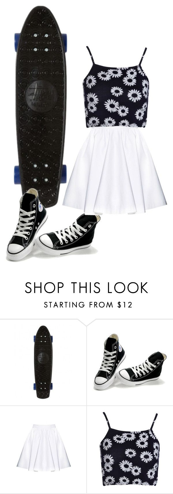 """""""Tia the skater"""" by quonton ❤ liked on Polyvore featuring Stussy, Converse, Alice + Olivia and Boohoo"""