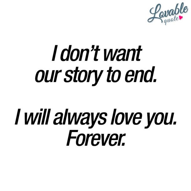 Love You Quote I Dont Want Our Story To End I Will Always Love