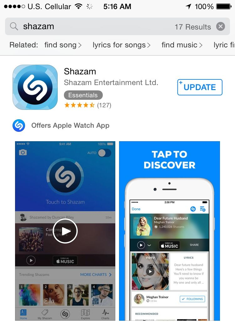 Shazamfind out what song is playing Favorite apps