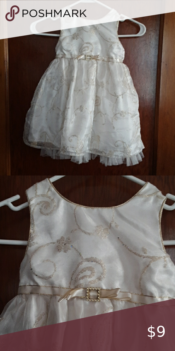 Toddler dress Ivory with gold accent dress Youngland Dresses Formal