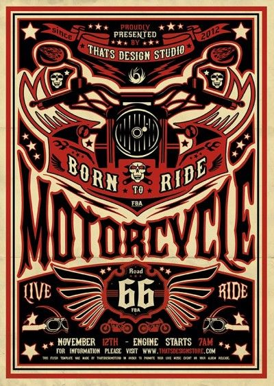 motorcycle flyer design template