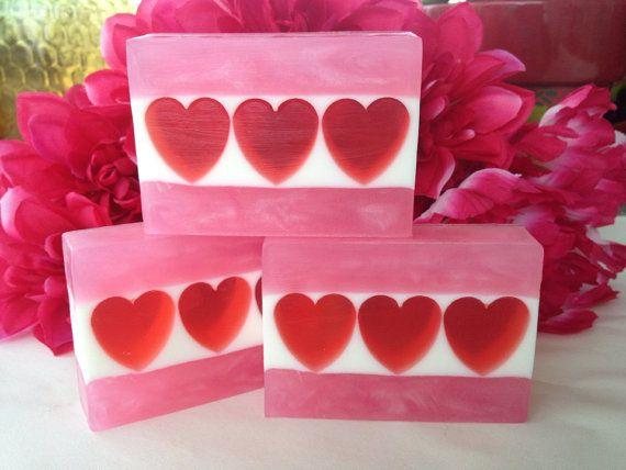 Valentine Sweetheart soap - Plumeria scented glycerin soap, heart soap by SeasideSoapKitchen on Etsy