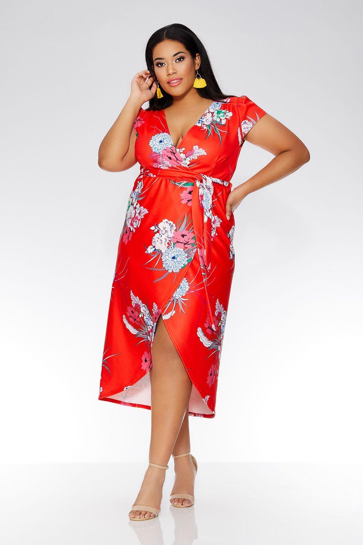 Curve red oriental wrap cap sleeve dress pinterest