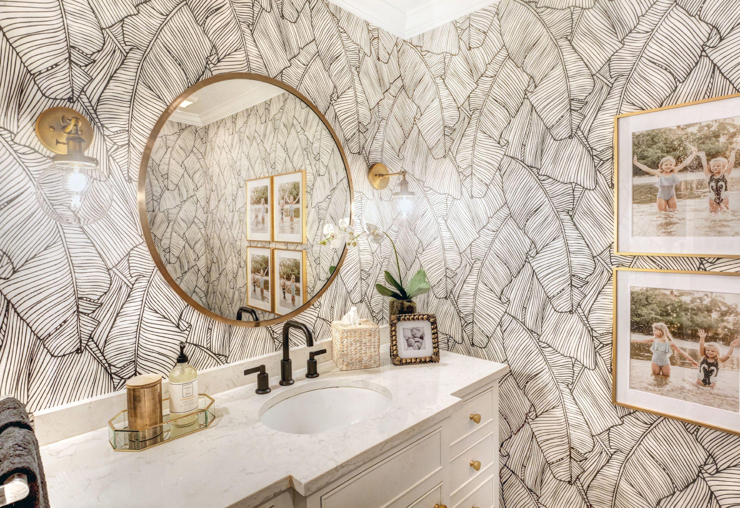 Guest Bathroom Refresh Palm Leaf Wallpaper Bathroom