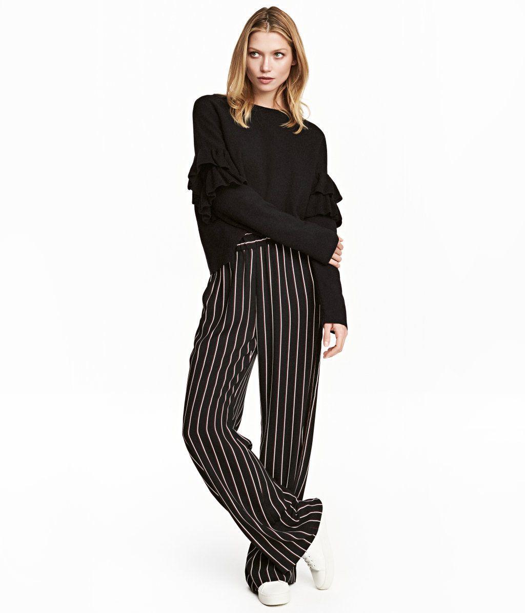 am besten billig Shop für neueste online zum Verkauf Weite Pull-on-Hose | Schwarz/Gestreift | Damen | H&M DE ...