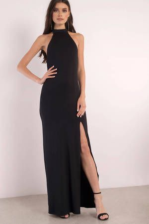 Black Maxi Dress Black Dress Front Slit Dress 6600 Closet