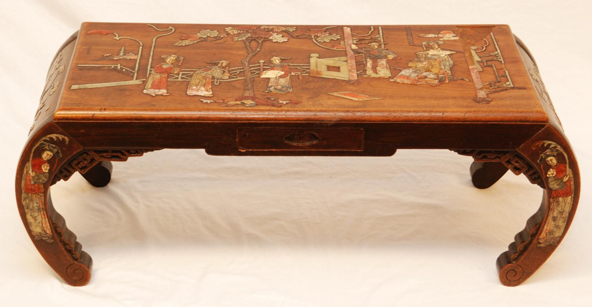 Chinese Carved Wood Table Chinese Carved Wood Inlaid Stone