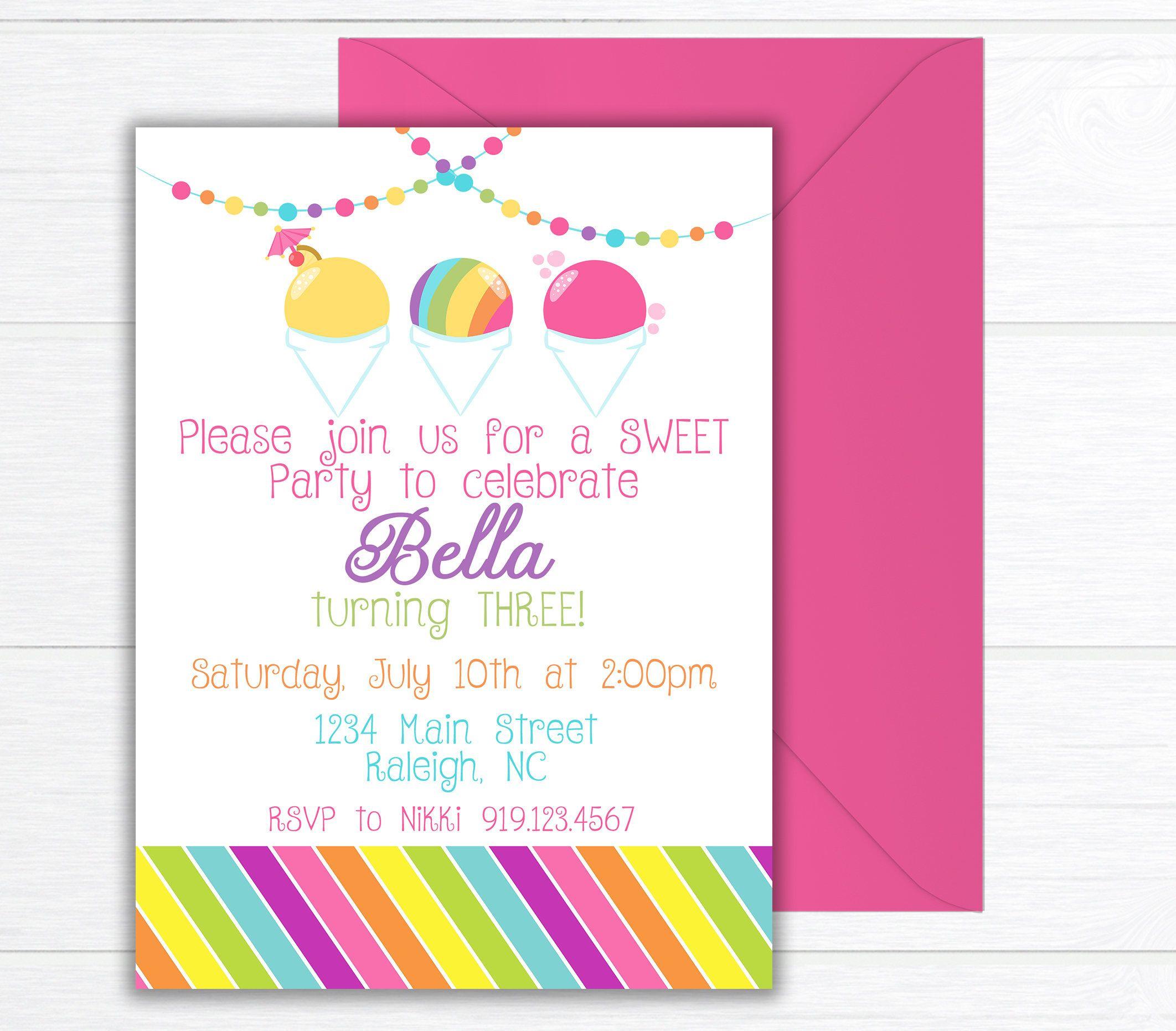 Snow Cone Birthday Party Invitation, Birthday Party Invite, Snowball ...