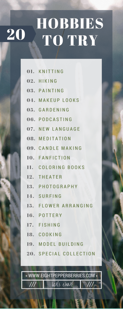 5 Ways To Be Creative Daily: Try A New Hobby >> Eight Peppebrries