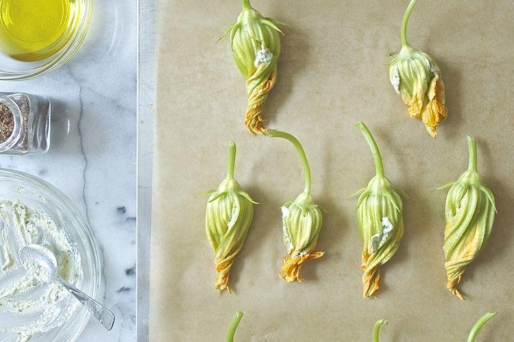 Vegan squash blossoms stuffed with pine nut cheez.
