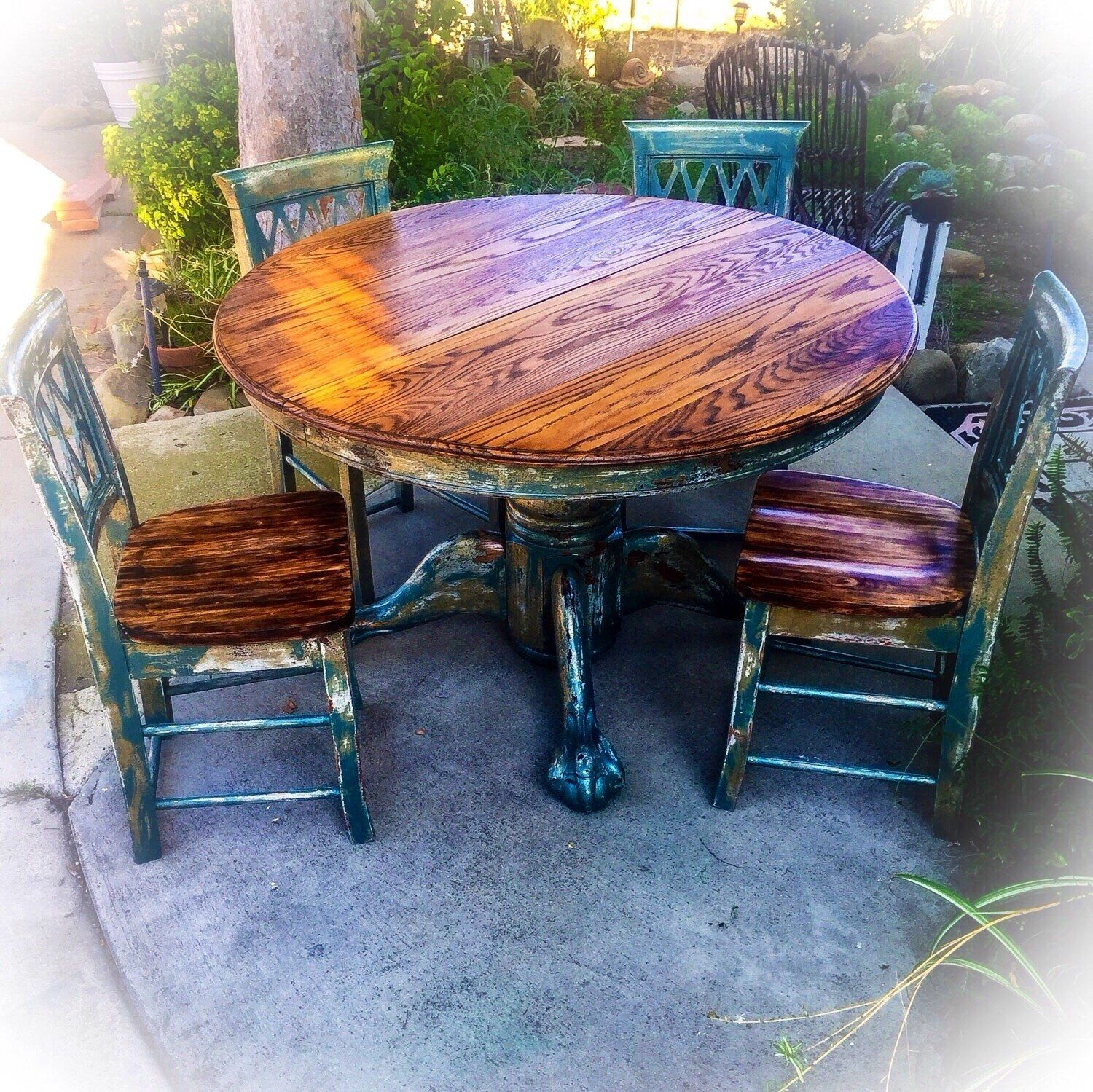 Burnt Oak, Shabby Chic, Kitchen Table & Chair Set, W