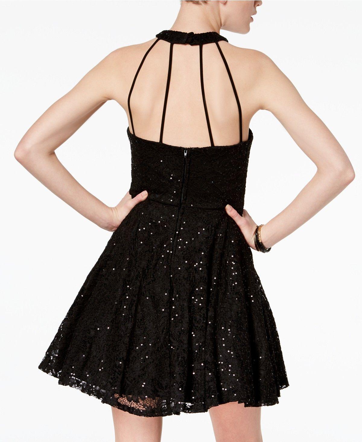 B darlin black lace dress  B Darlin Juniorsu Sequined Lace Halter Dress  Juniors Dresses