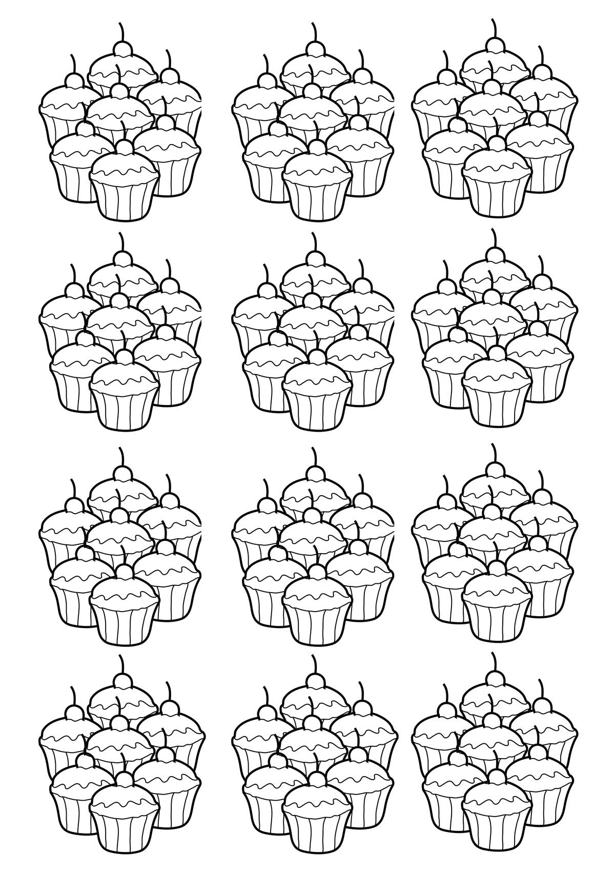Color art coloring books free - Basic Mosaic Of Cupcakes To Color From The Gallery Cup Cakes Free Coloring