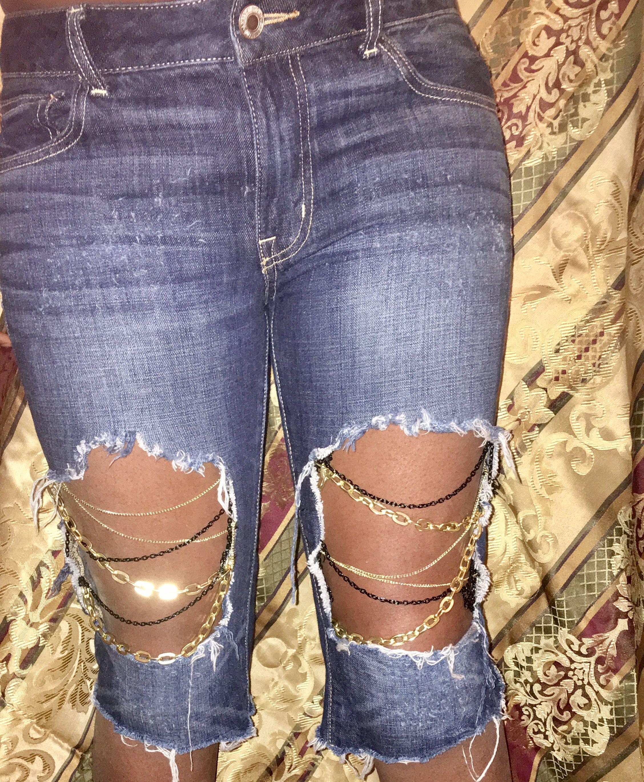 Diy Fashion Jeans Denim Chains Gold Inspiration Blue Jeans Ropa Bordado A Mano Jeans