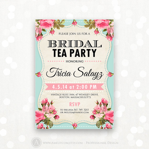 Printable Bridal Shower Invitation Tea Party Invite Brunch The Bride Retro Editable Instant Digital Pdf