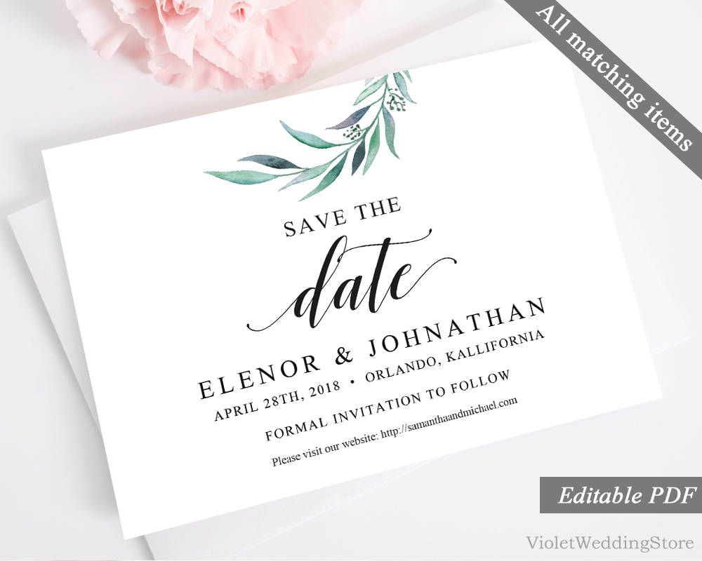 Eucaliptus Save the Date Card Template. Printable Save the Date ...