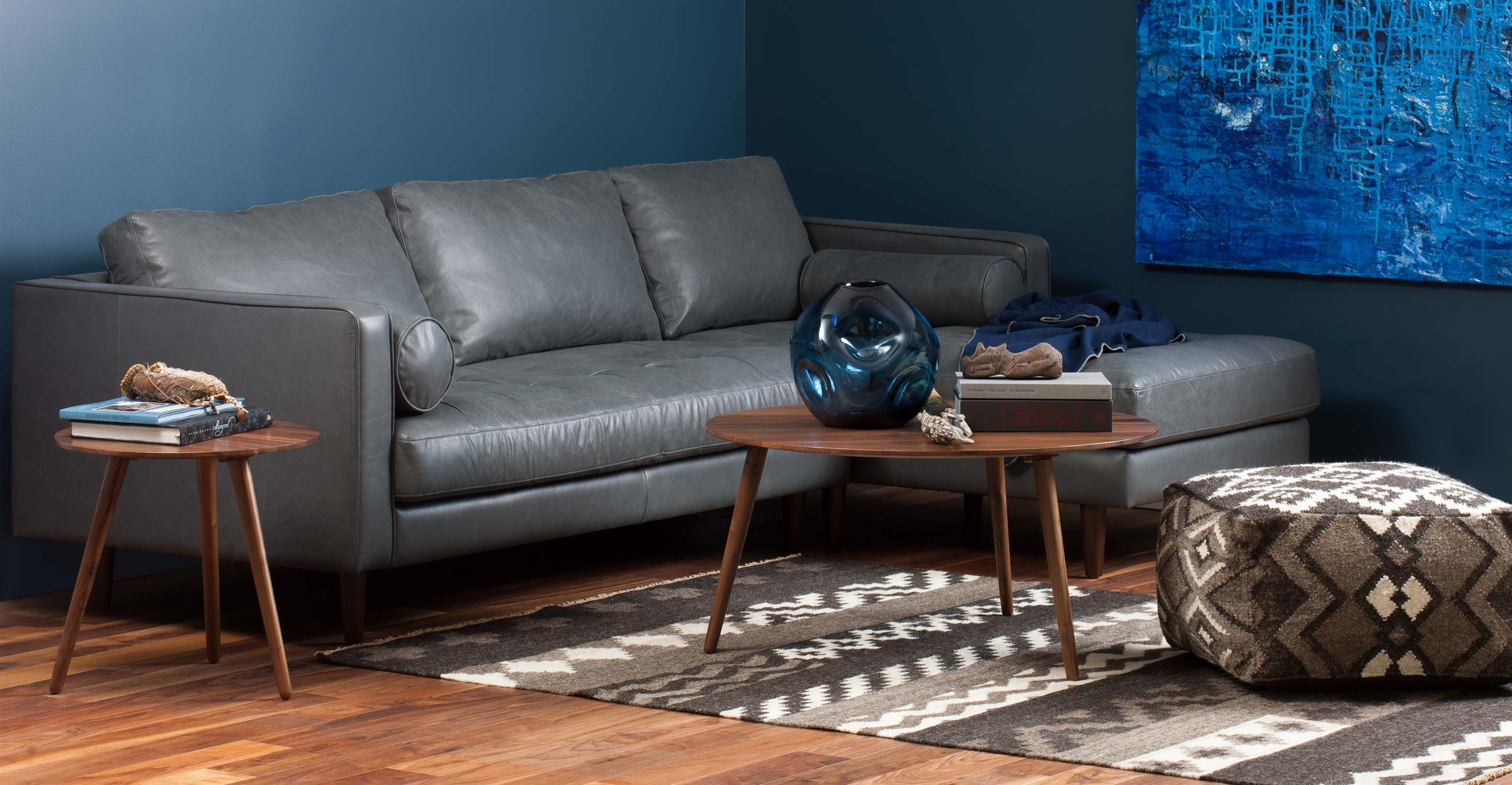 Gray Leather Left Sectional Sofa Tufted