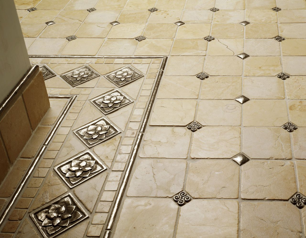 traditional bronze tile accent inset cream marble floor grid  - traditional bronze tile accent inset cream marble floor grid pattern lotus
