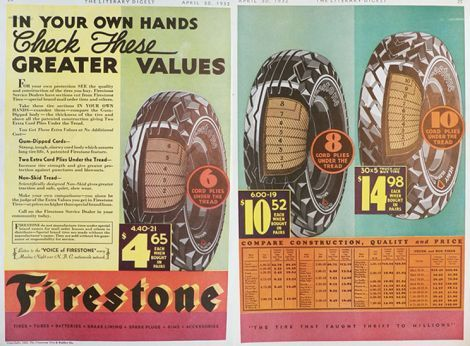 Firestone Tires Prices >> 1932 Firestone Tires Ad 2 Pages With Specs Prices