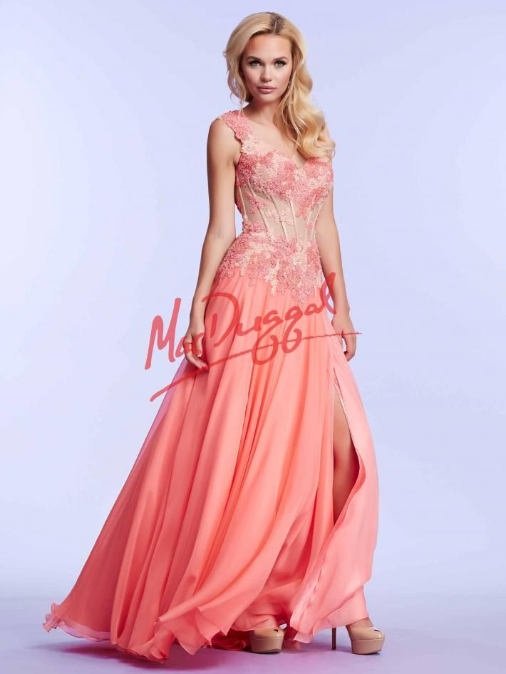 Coral Prom Dress | Corset Gown with Floral Lace | Mac Duggal 10018M ...