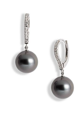 Mikimoto Diamond Black South Sea Cultured Pearl Earrings Nordstrom