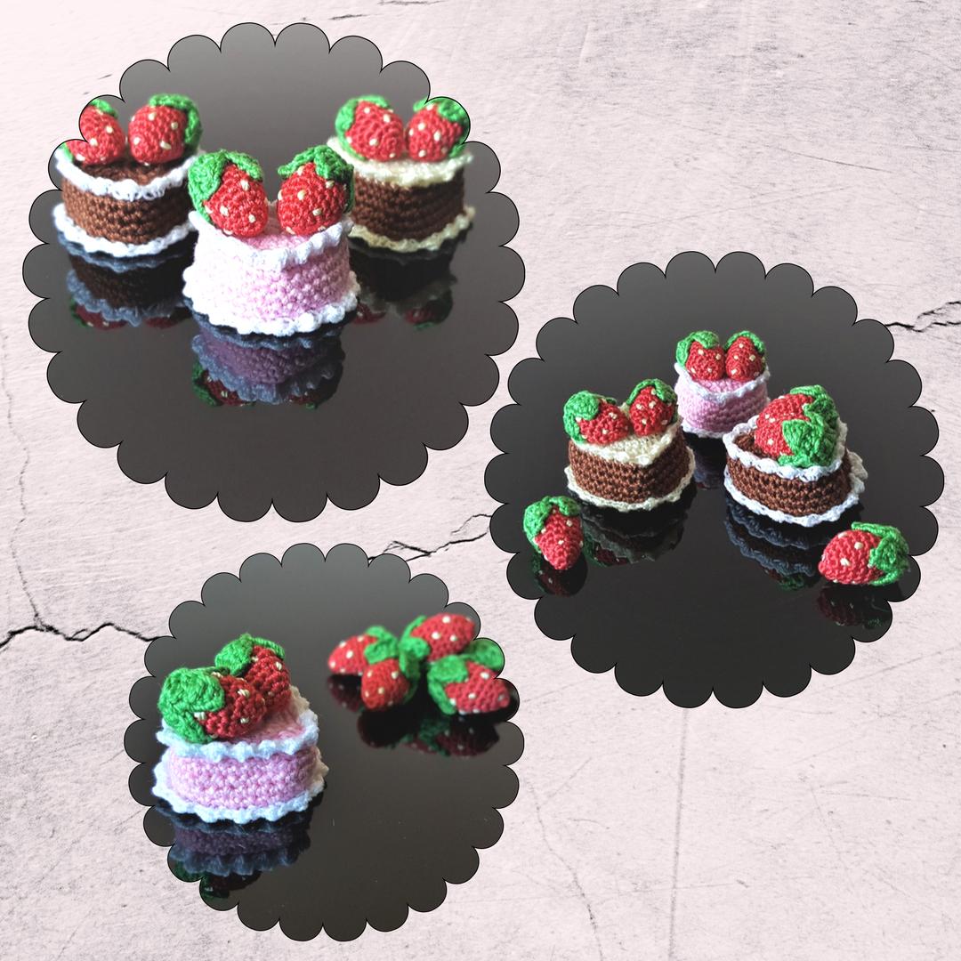 Dollhouse birthday cake Crochet heart cake Mini pink cake Mini
