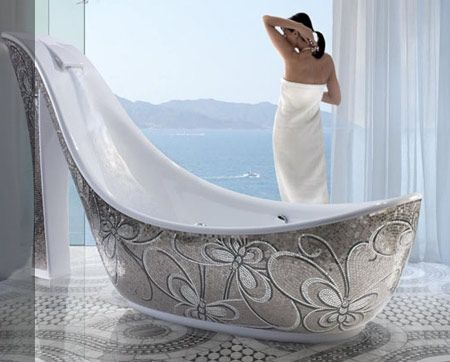 This Bathtub Is For All You Shoe Lovers Out There. Itu0027s Sexy, With  Beautiful Mosaic Tiles To Accent Its Beauty. The Shoe Bathtub Was Designed