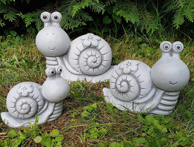 Gartenfiguren 3 Set Susse Schnecken Familie Handbemalt Deko Fur Aussen Garten Balkon Terassen Und Hochbeete St Gartendeko Figuren Gartenfiguren Zement Basteleien
