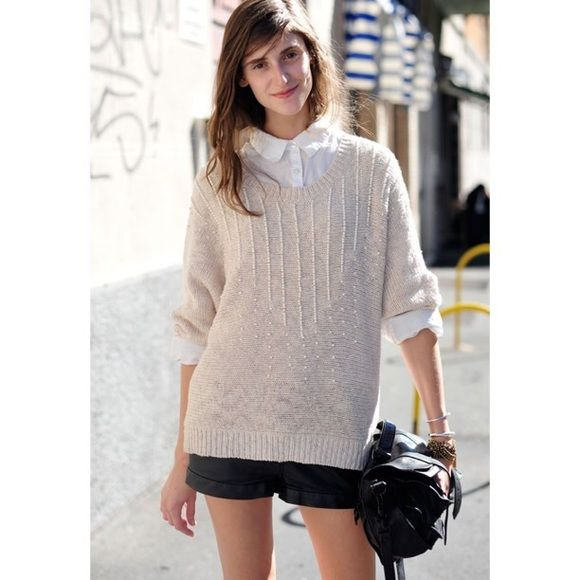 2082ff7014 H M Trend beaded oversized sweater Oversized cream knit sweater with pearl  like beading. Excellent condition