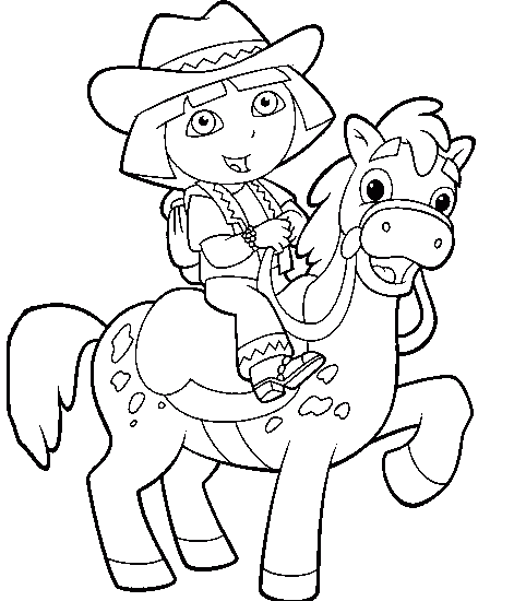 Dora The Explorer Horse Riding Coloring Pages | coloring pages ...