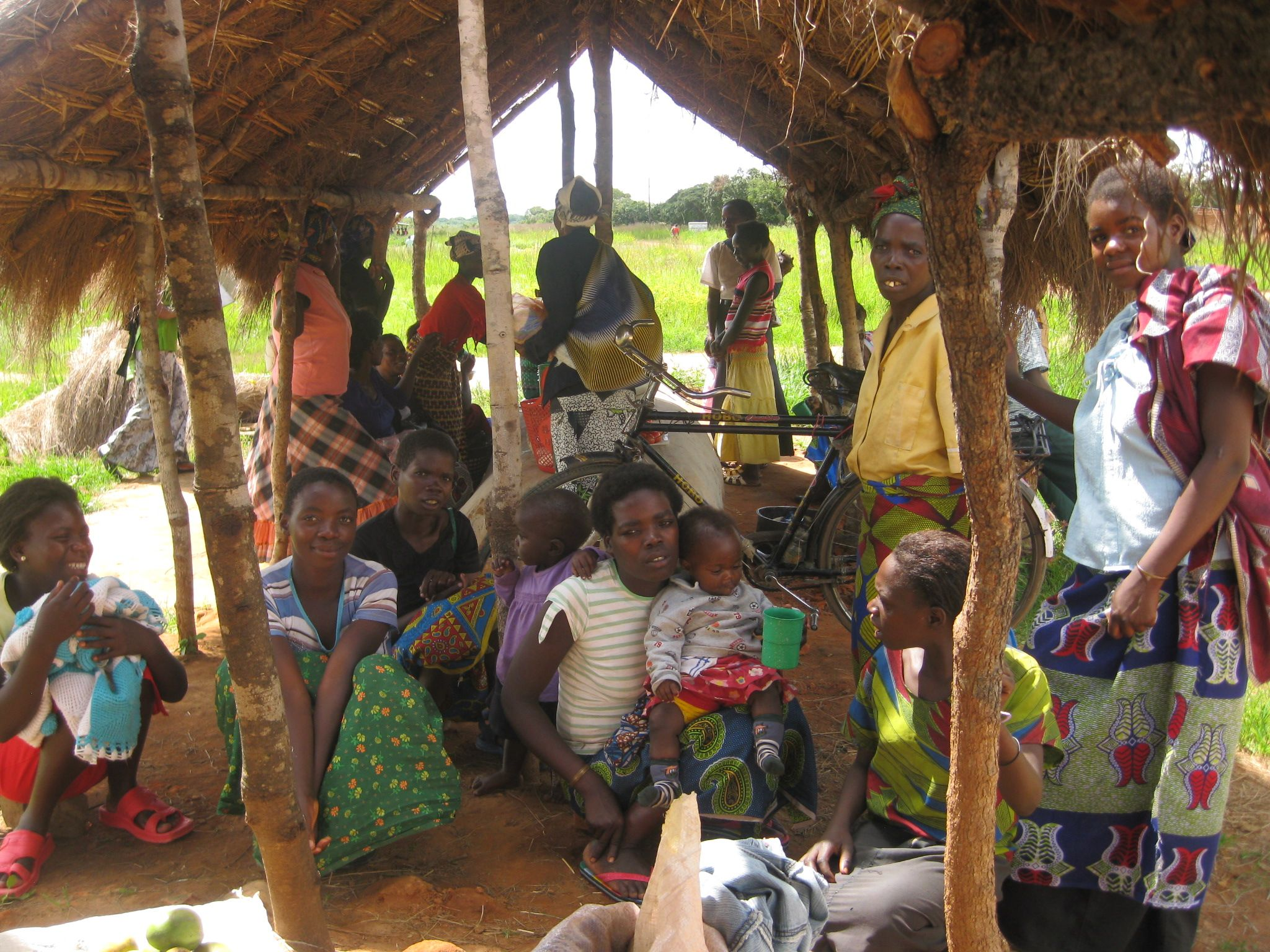 Women and children gather at the local market in Central Zambia.