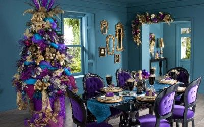 Christmas Table Ideas 3804x3358 Spacious Dining Room With Fancy Christmas Purple Christmas Decorations Purple Christmas Tree Decorations Purple Christmas Tree