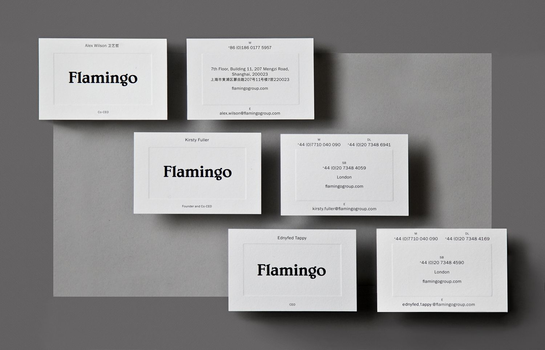 New brand identity for flamingo by bibliotheque bpo flamingo brand identity and blind embossed business cards for flamingo by bibliotheque united kingdom reheart Gallery