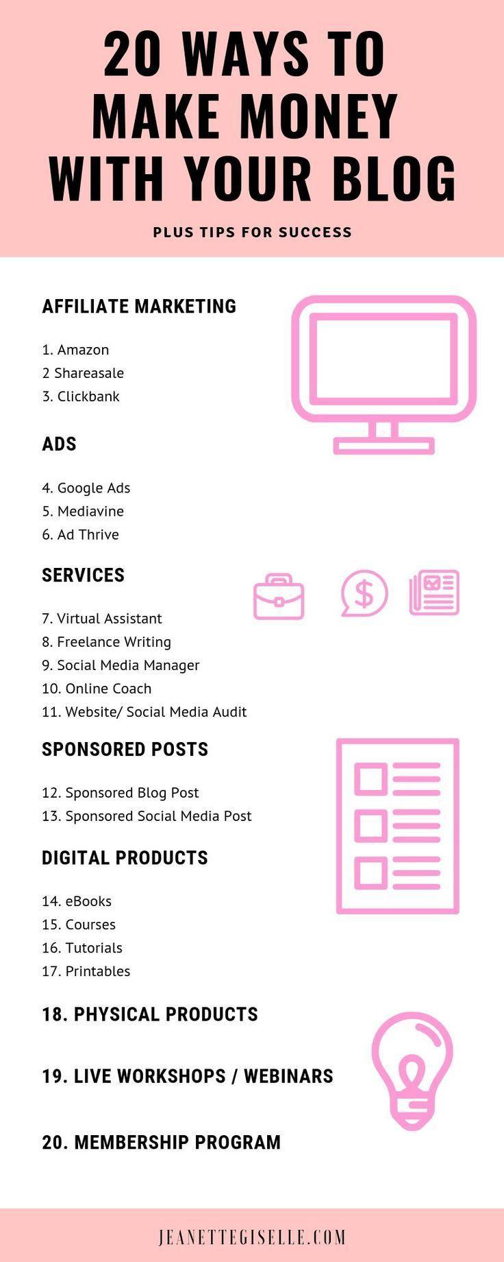 20 ways to Make Money with your Blog #crochetformoney