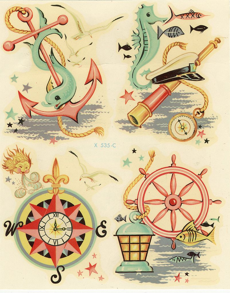 1950 S Nautical Decals Love The Colors Nautical Decals Vintage Tattoo Art