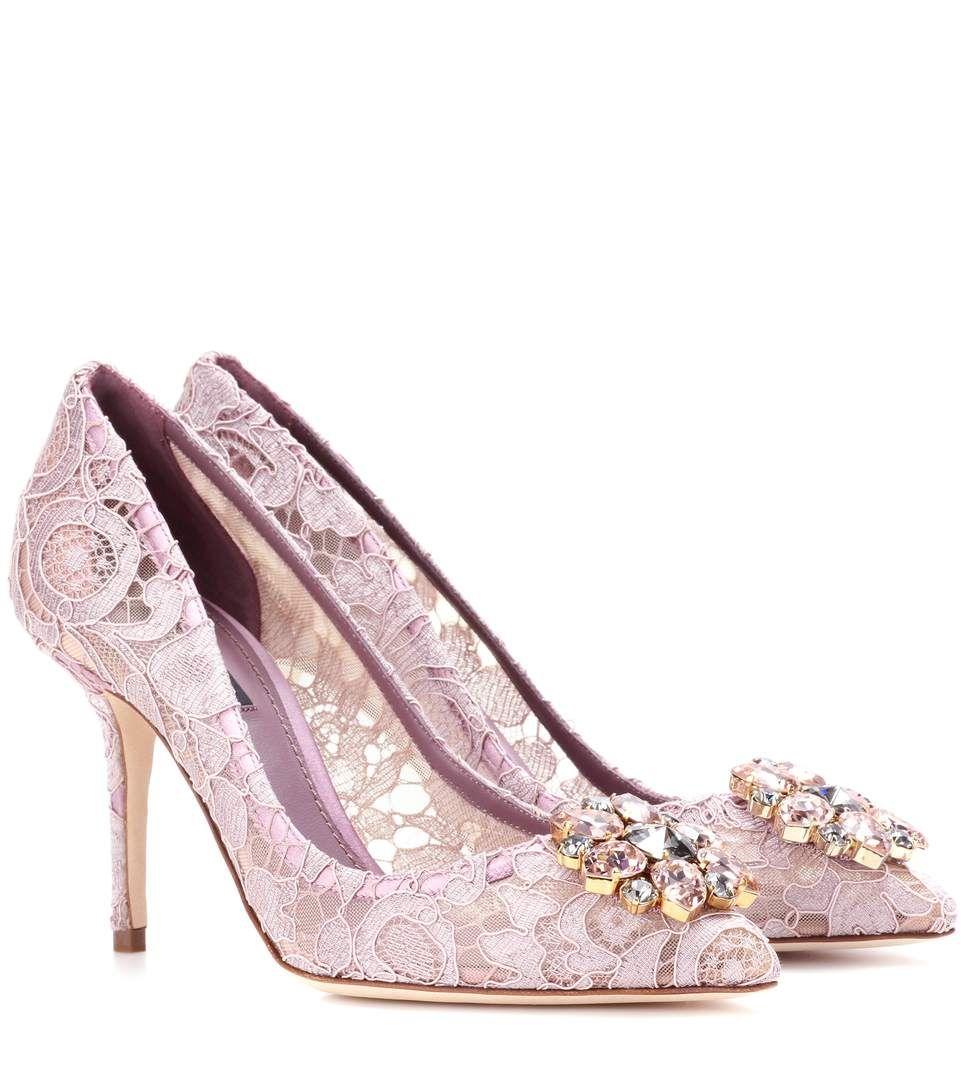 Bellucci embellished lace pumps