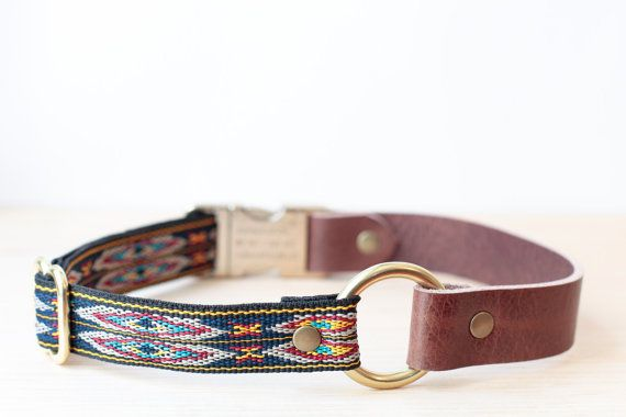 Blue/Yellow Wide Vegetable Tanned Leather Dog Collar by sucushop