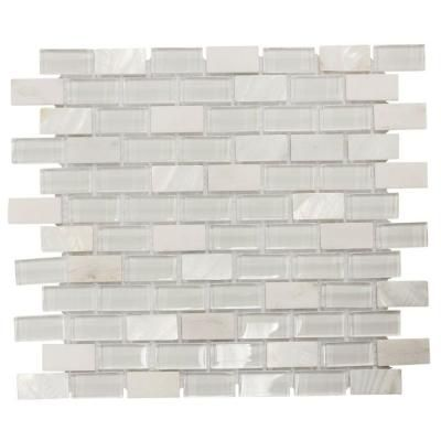 Jeffrey Court Polar Cap 12 5 In X 10 75 In X 8 Mm Glass White Marble Mosaic Wall Tile